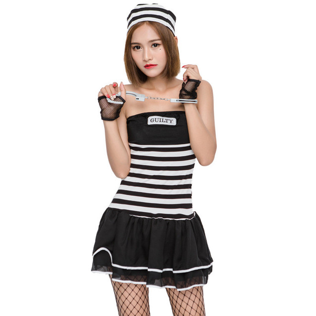 Adult Womanu0027s Striped Prisoner Costume Female Black White Stripe Prisoner Game Play Costume Halloween Carnival Party  sc 1 st  AliExpress.com & Adult Womanu0027s Striped Prisoner Costume Female Black White Stripe ...