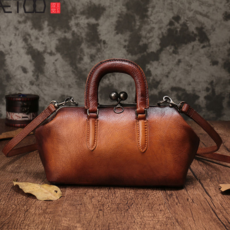 AETOO New small bag retro handmade lock leather female bag top layer leather diagonal cross bag