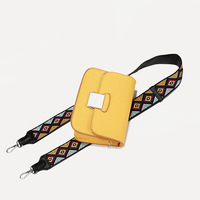 Ladies messenger bags yellow color two belts girls fashion summer bag with colorful strap PU leather women flap european style