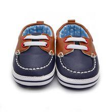 Fashion Boys Baby PU Leather Laces Up Crib Shoe Anti-Slip Prewalkers 0-18 Month LH7s