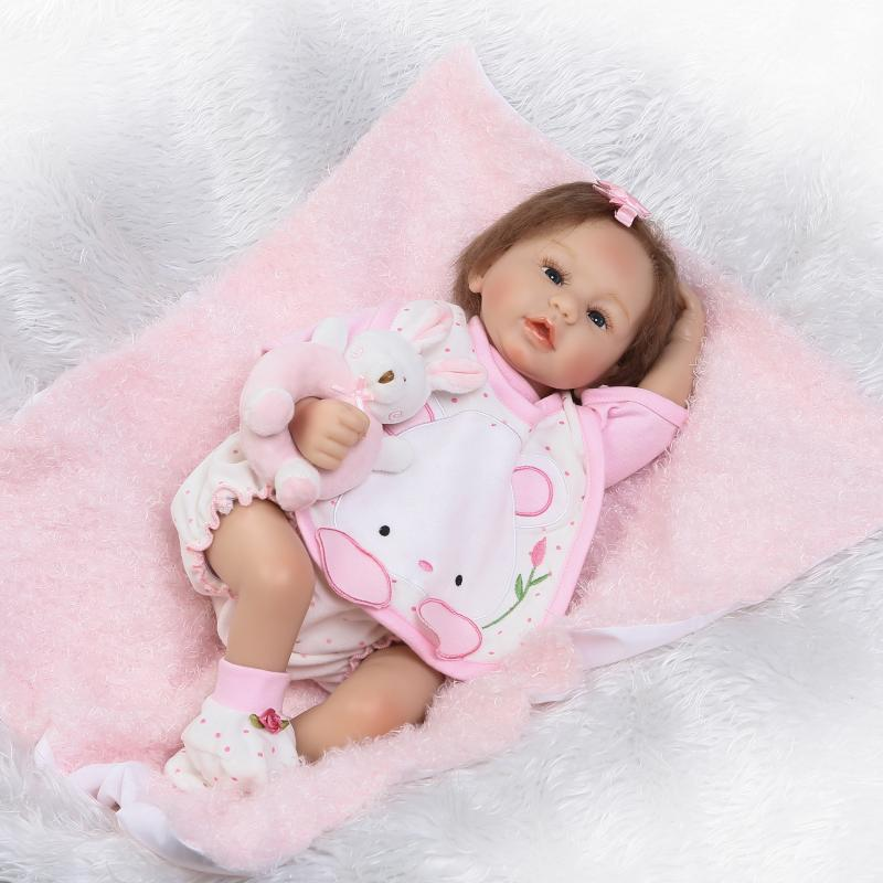 Pursue 22/55 cm Hand Root Hair Silicone Reborn Baby Alive Dolls for Girls Newborn Baby Princess Doll for Surprise Doll Gift 0cm in diameter large space baby hand footed printing mud set newborn baby hand and foot print hundred days old gift souvenir