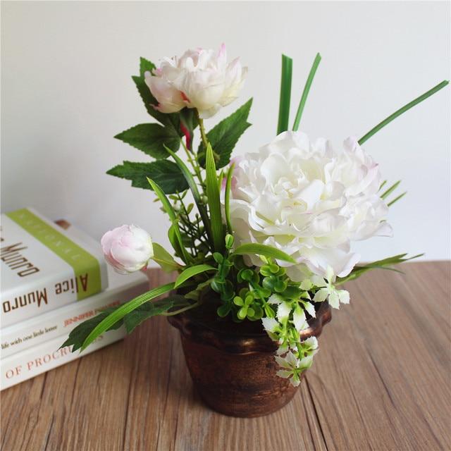 Whitepink realistic silk peony artificial flowers bonsai with green whitepink realistic silk peony artificial flowers bonsai with green leaves high quality plastic potted mightylinksfo