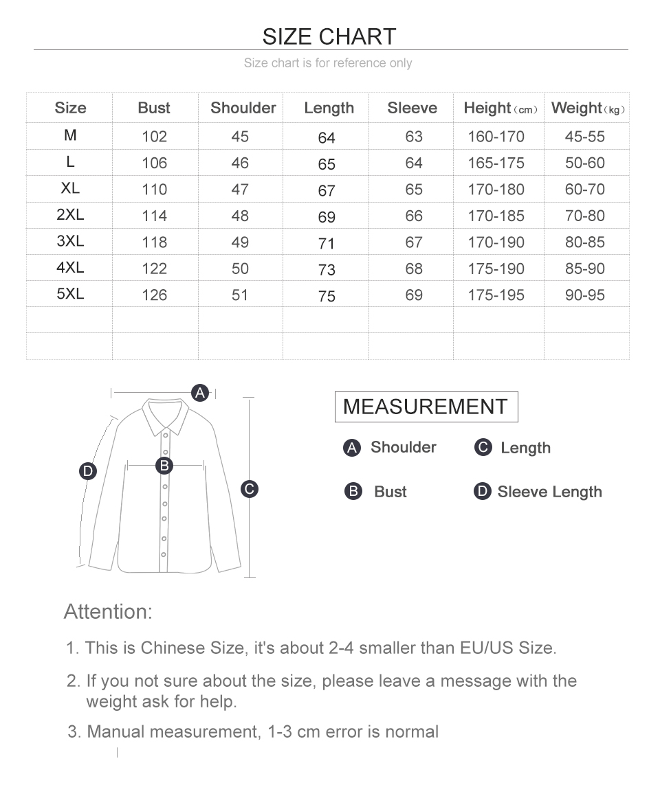Leather Jackets For men Size Chart