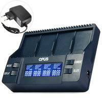 Opus BT C900 Intelligent Digital 4 Slots LCD Multifunction 9V Li Ion Battery Charger EU US Adaptor