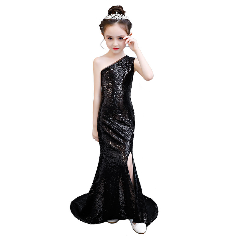 Evening Dress Kids Black Sequin Mermaid Dress Age For 3-14 Yrs Teenage Girls One-shoulder Noble Graduation Gown Party Frocks