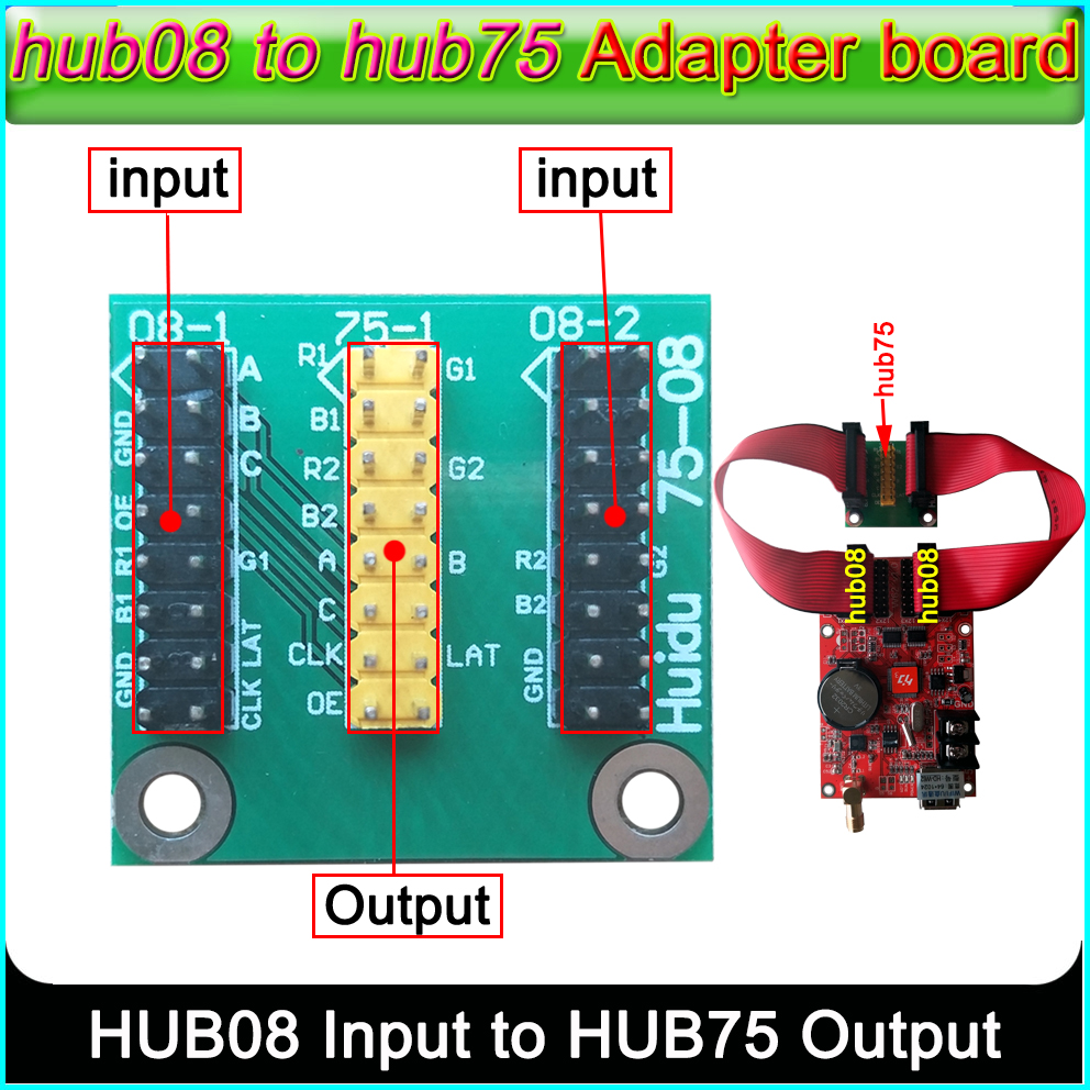 Full Color HUB75 Adapter Board Hub08 To Hub75,Huidu Dual Color Controller Hub08 To Full Color Hub75, Can Show Seven Colors