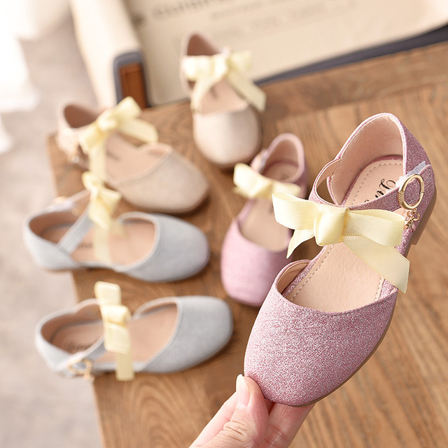 POSH DREAM New Children Butterfly-knot Princess Kids Girls Shoes Gold Pink Sequins Flat Shoes for Girls Fashion Single Shoes