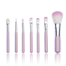 BBL 7 Pcs/set Pink Makeup Set Eyeshadow Alis Brushes Foundation Bubuk Blush Blending Set Kuas Bibir Pincel Maquiagem De(China)