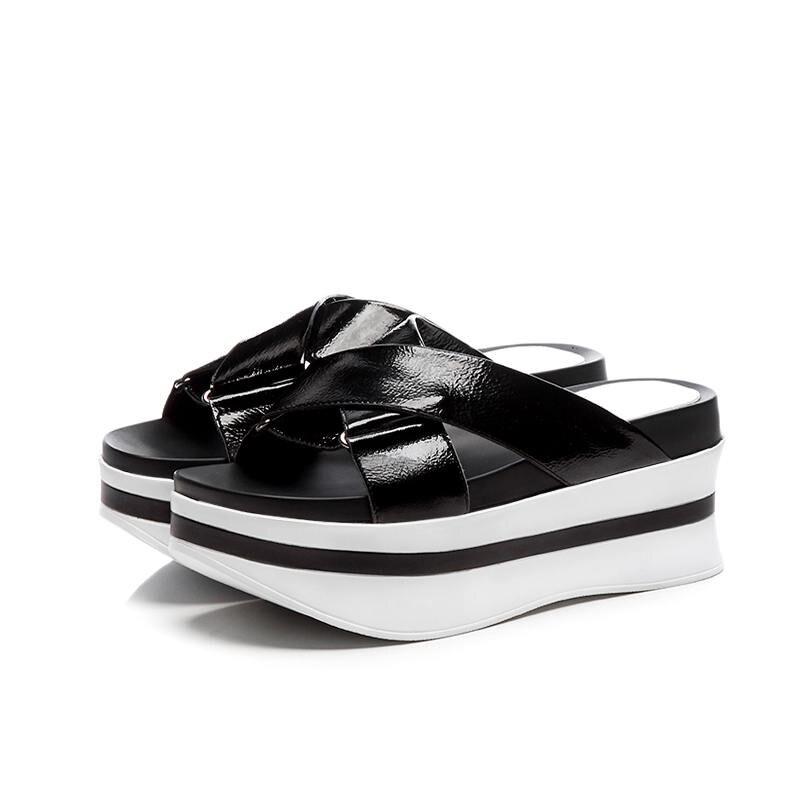 Verano blanco Sandalias Slingback Mostrar Toe Altos Peep Deslizamiento Gladiador Fondo Genuino Negro L60 rojo Lenkisen Zapatos Tacones Cuero Grueso Thin Mujer De qwzaAZZx1n