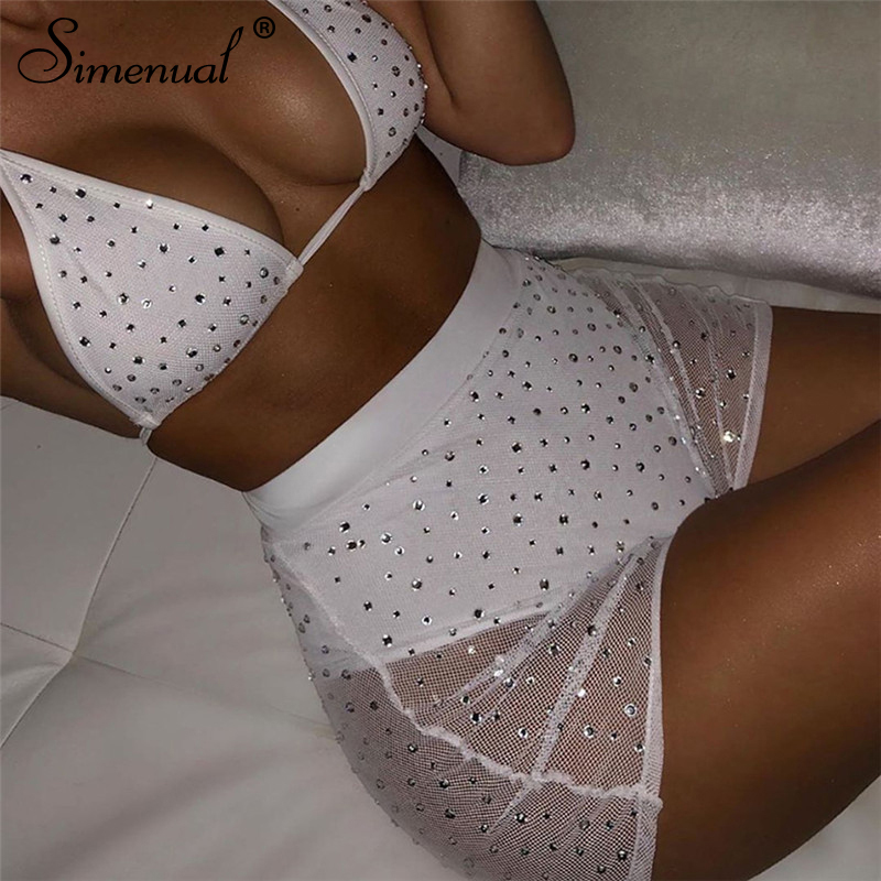 Simenual Beading Sexy Hot Women Two Piece Outfits Mesh Neon Bralette And Shorts Sets Fashion 2019 Summer Party Clubwear Set Slim