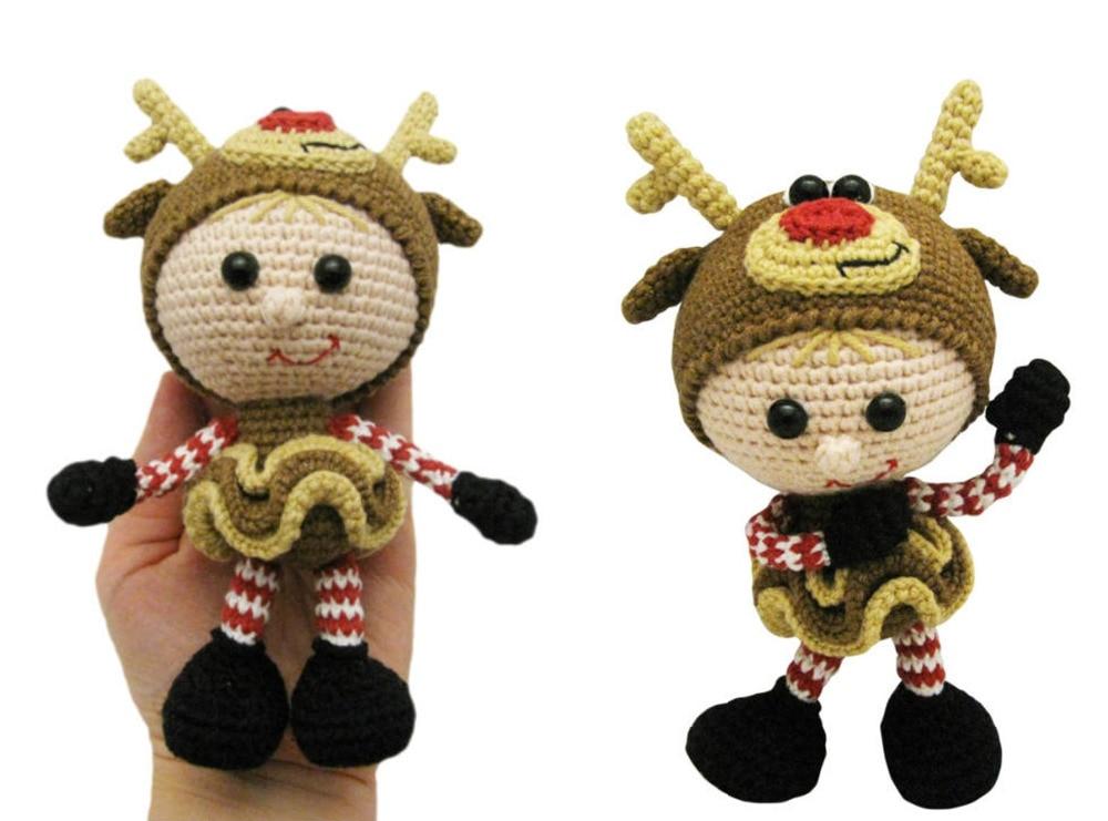 Jouets crochet amigurumi Amigurumi cerfs filles poupée hochets nombre WS0051