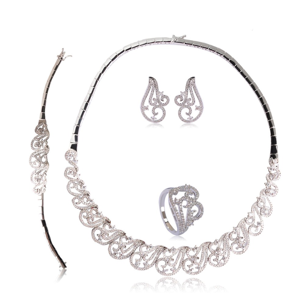 Simple Style Wedding Jewelry Sets Shiny Rhinestones Copper Necklace Earrings Ring Bracelet 4 Pcs Women Lady Wedding Bijuterias золотое кольцо ювелирное изделие 01k612010
