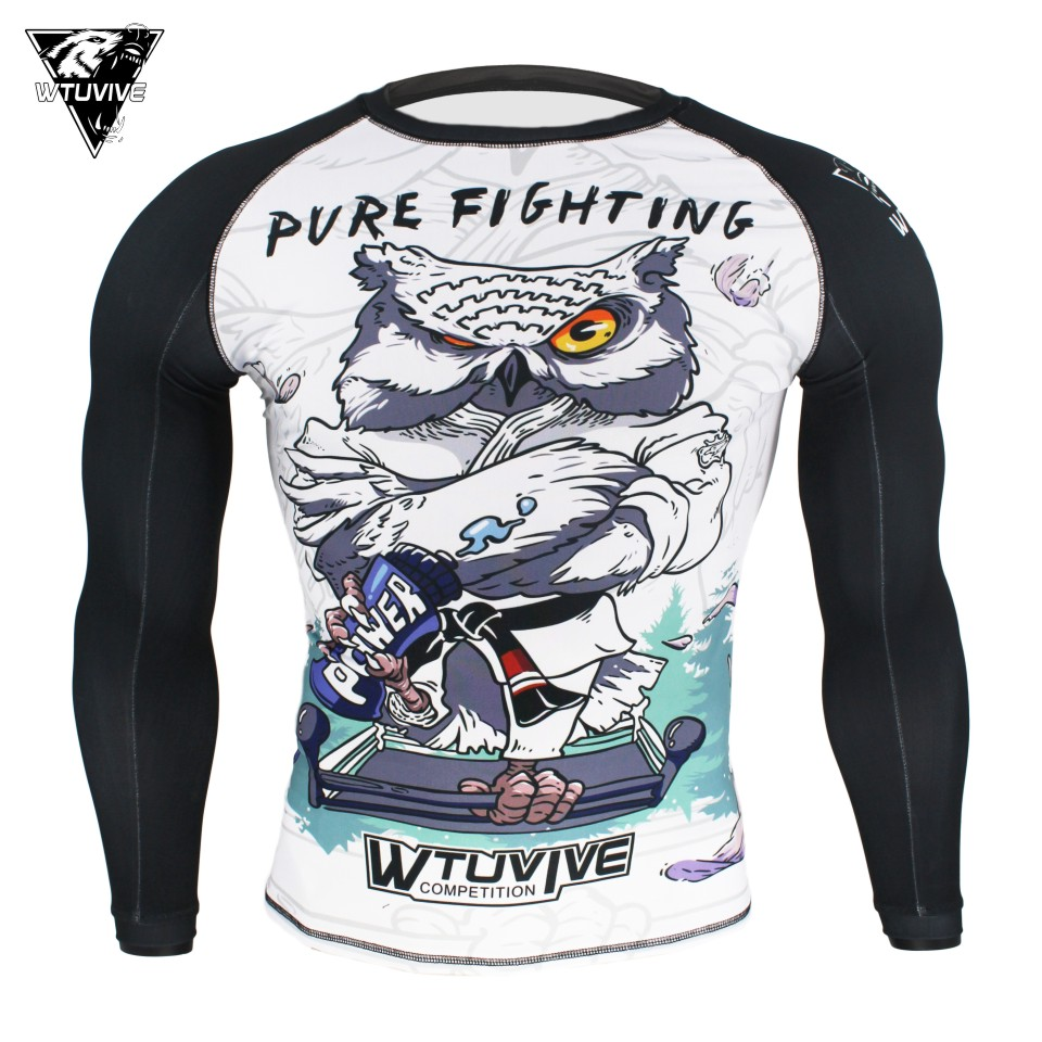 White MMA Fighting Owl Fighting Fight Boxing Sweatshirt Boxing Jerseys Clothes Tiger Muay Thai Fight Wear Tshirt Homme