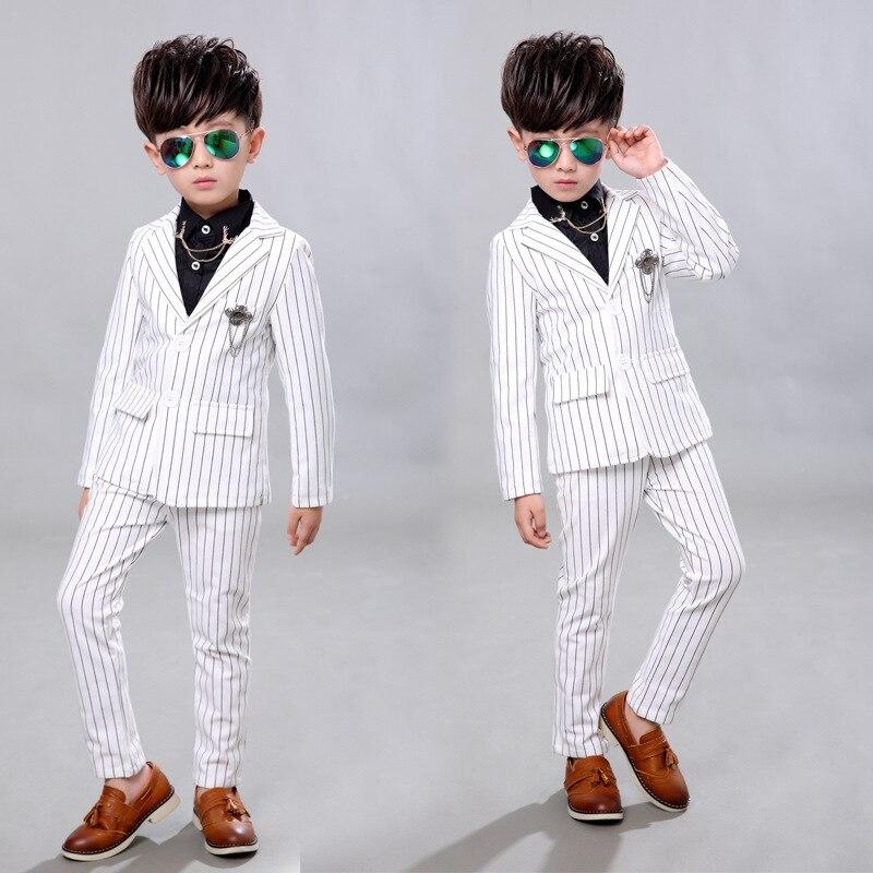 d01c66b31ce0 Boys Wedding Birthday Dress Kids Brand White Suit Gentleman Boys ...