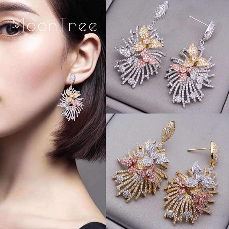 Moontree 50mm luxury Flower Line Wheel Full Micro Paved Cubic Zircon Wedding Paty Fashion Jewelry Earring For Women