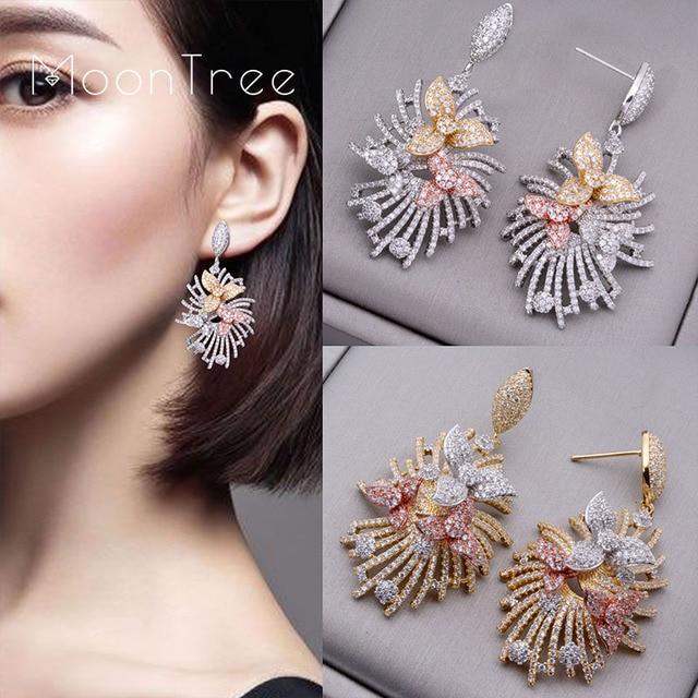 Moontree 50mm luxury Flower Line Wheel Full Micro Paved Cubic Zircon Wedding Paty Fashion Jewelry Earring For Women