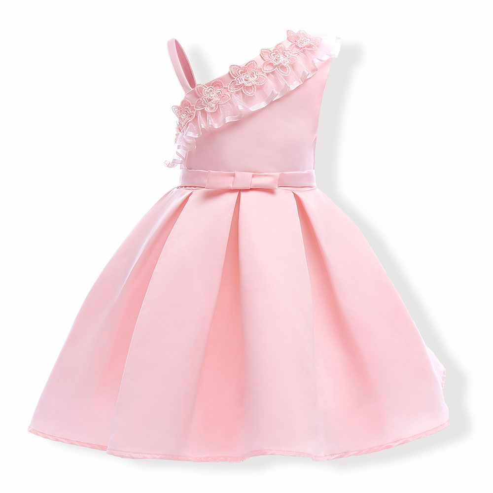 2018 New Children Lace Dresses Sleeveless Kids Girls Clothes Flowers Party Princess 3 4 5 6 7 8 9 Years Old Birthday Dress