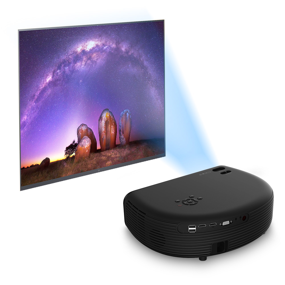 COOLUX HD Portable Projector 3000 Lumen Support 1080P Video Games Home Theater Projector Movie Beamer with Built-in Speaker