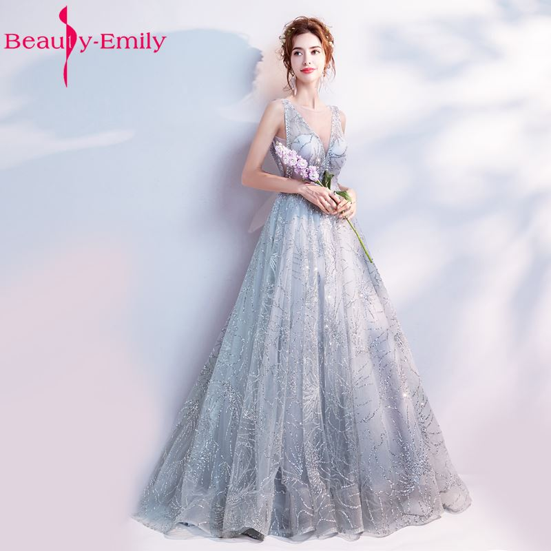 Beauty Emily A Line Vintage Flower   Evening     Dresses   2018 Long Silver Sleeveless Floor Length Party Prom   Dress   Vestido De Noiva