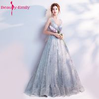 Beauty Emily A Line Vintage Flower Evening Dresses 2020 Long Silver Sleeveless Floor Length Party Prom Dress reflective dress