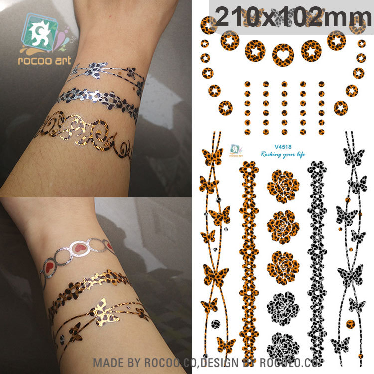 6 Sheets Metallic Tattoo Style Temporary Mayan Gold And Silver Henna