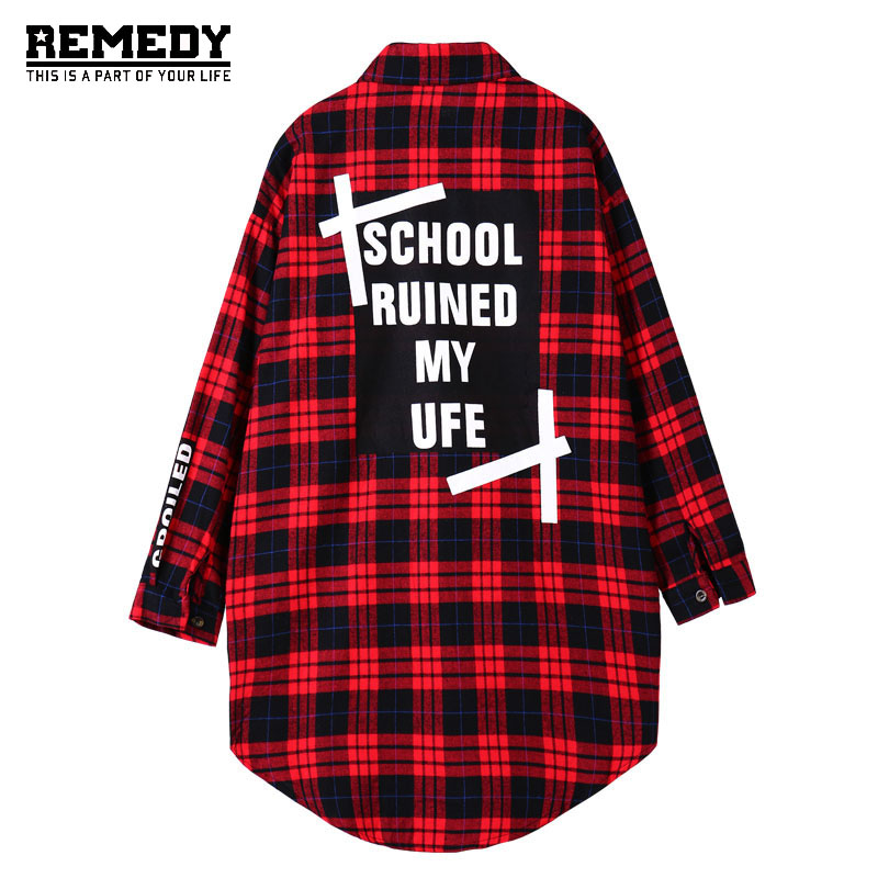 8000fa59773 Womens Spring Style Maxi Plaid Shirt Women Plus Size Shirts For Woman  Oversized long Blusas Ladies Plaided Print Blue Red Blouse-in Blouses    Shirts from ...