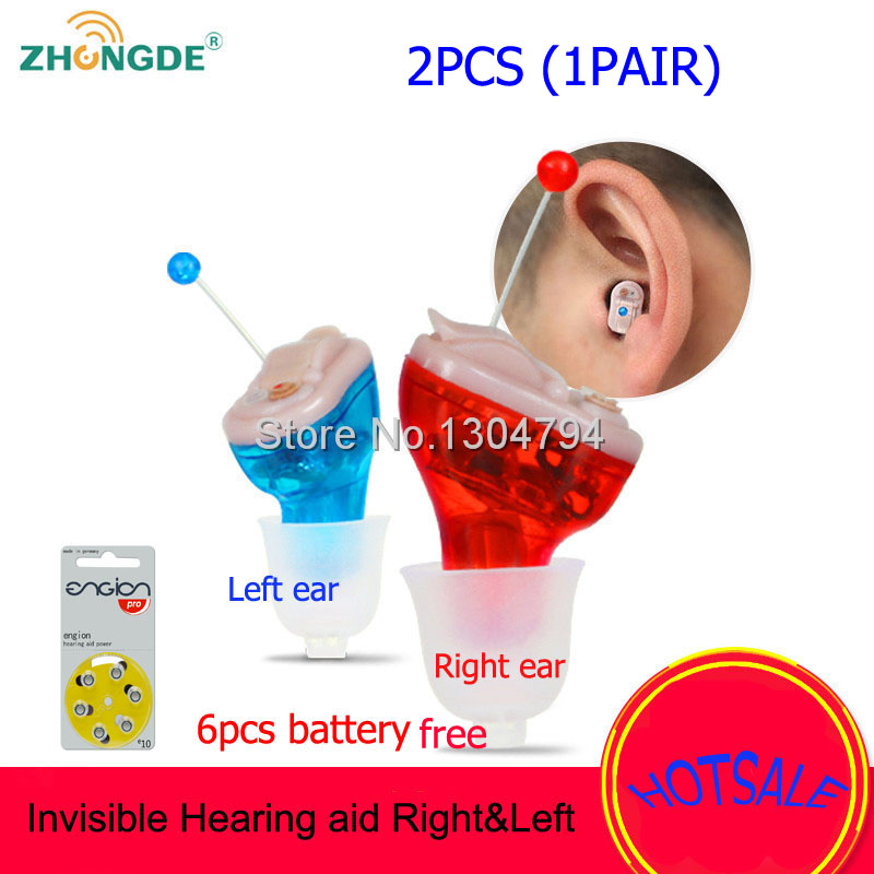2PCS CE FDA Small inner Ear Invisible hearing aid Best Mini Device Hearing Aids Adjustable Sound Amplifier with 12PCS battery portable small hearing aid program device ear care s 10b medical instruments hearing aids for hearing impaired people