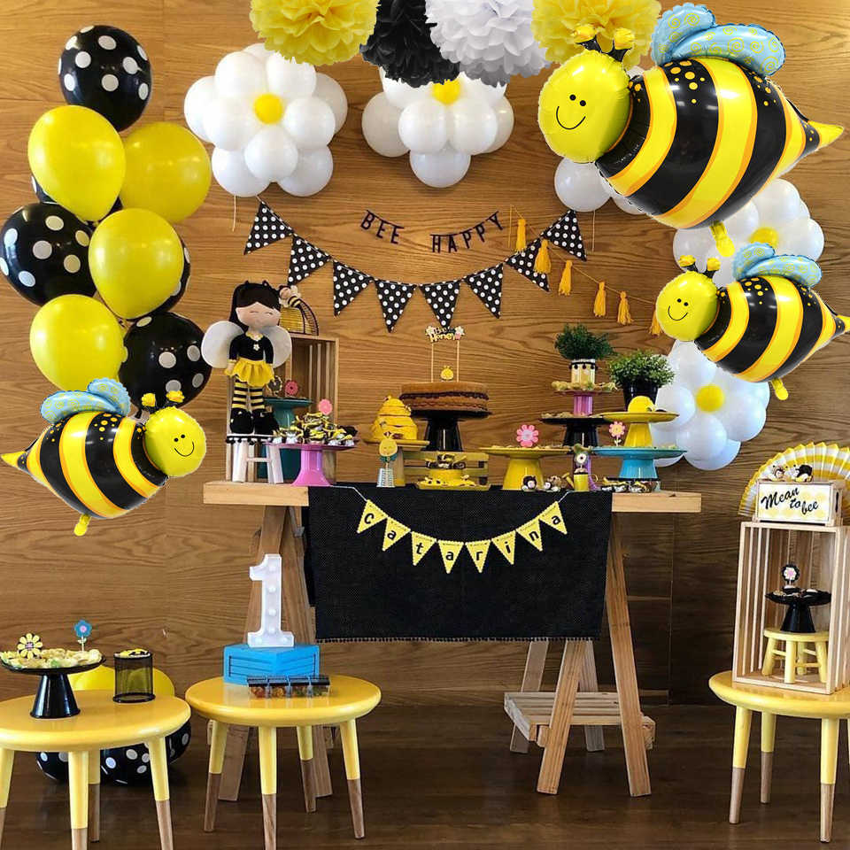 1Set Cute Honeybee Series Balloons Mommy To Bee Paper Banner Bee  Cake Topper Baby Shower Kids Gift Birthday Party Decoration