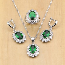 925 Sterling Silver Bridal Jewelry Sets Green Cubic Zirconia White CZ Beads for Women Drop Earrings Pendant Necklace Rings clean rectangle blue cubic zirconia white cz 925 sterling silver drop dangle earrings for women v0368