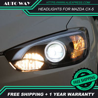 Free shipping Car styling LED HID Rio LED headlights Head Lamp case for Mazda CX5 CX 5 2011 2014 Bi Xenon Lens low beam