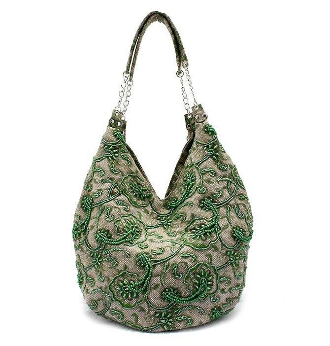 b85ecc9b577a Зеленая сумка на плечо ручной работы женская льняная Сумочка вечерняя сумка  шоппер Бесплатная доставка 2509-