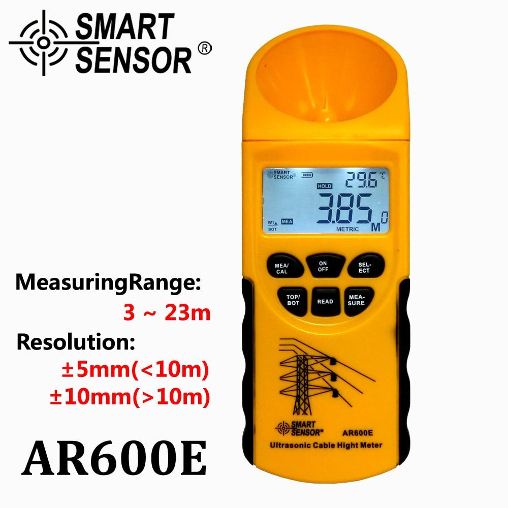 Misuratore di altezza cavo ad ultrasuoni 6 Cavi Misura Display LCD Campo di misura (altezza 3-23m, piano 3-15m) Smart Sensor AR600E