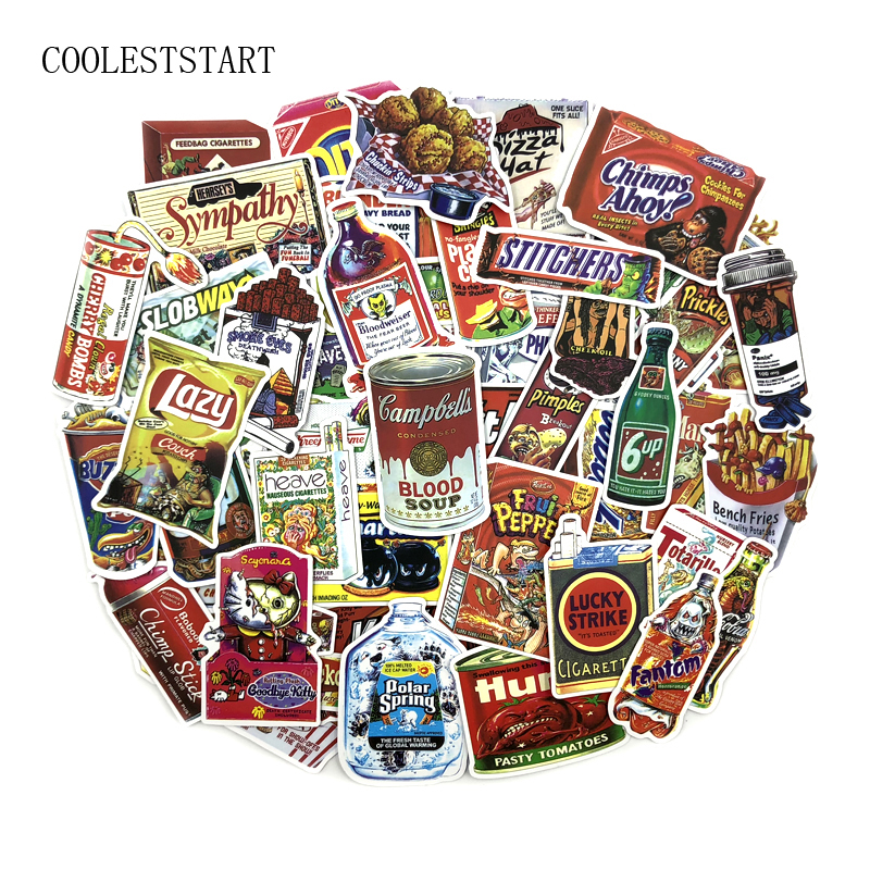 37pcs/lot Snacks And Drinks Packaging Stickers For Skateboard Laptop Luggage Fridge Phone Toy Car Styling Doodle Car Sticker Toys & Hobbies