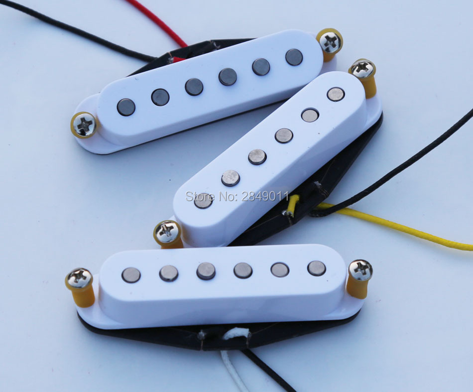 Vintage Single Coil Pickups for Strat Tele Guitars Braided Wiring Alnico 5 Magnets White