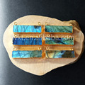 Holiday Sale A quality natural labradorite long rectangle bail pendants in 24k gold color WT-P505