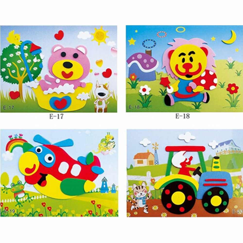 20pcs 3d eva foam sticker puzzle baby diy cartoon animal series e early learning education toys