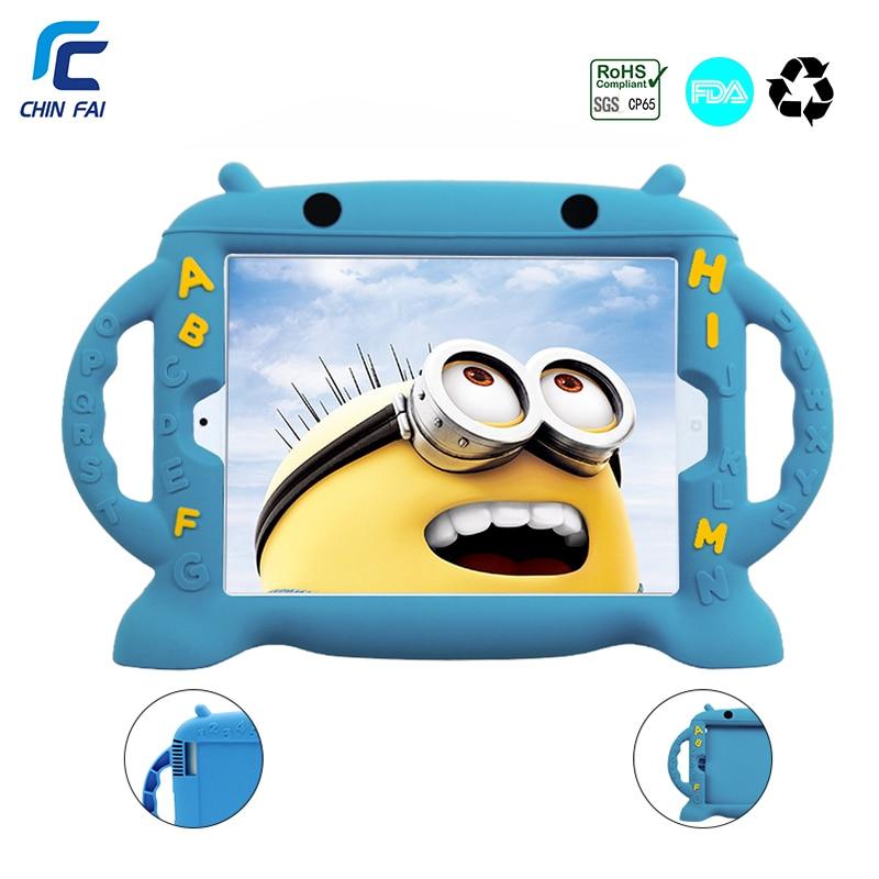 Chinfai Child Funda de silicona para iPad 4 Funda a prueba de golpes para iPad 2 Caja fuerte lavable de dibujos animados para iPad 2 3 4 9.7 '' con correa de auto