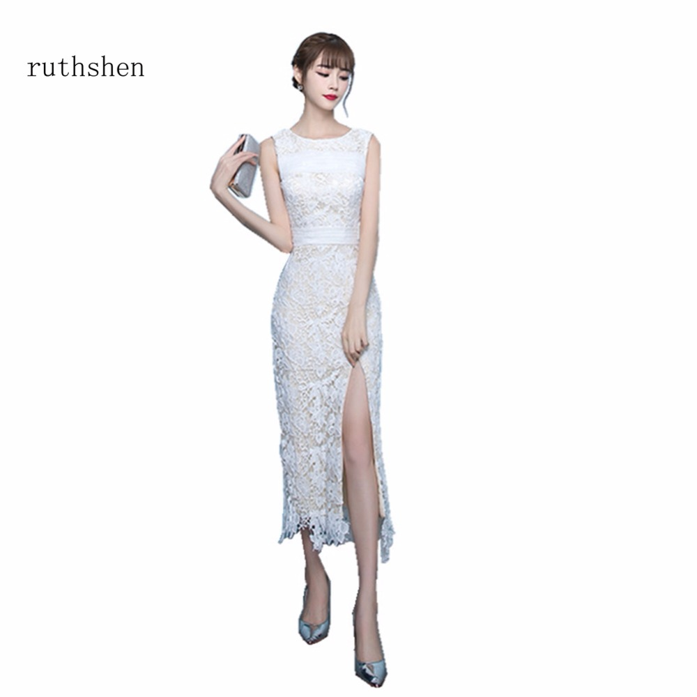 ruthshen Robe Bal De Promo Sheer Sleeveless Lace   Prom     Dress   Long Ankle Length   Prom   Gowns In Stock Robe De Soiree 2018 Nouveaute