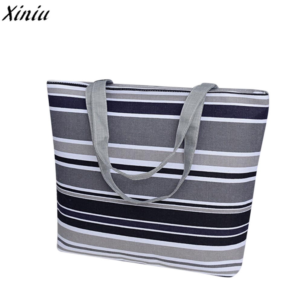 Women Handbag Girls Printing Canvas Shopping Bag Stripes Fashion Shoulder Tote Bag Bolsas Feminina #9403 aosbos fashion portable insulated canvas lunch bag thermal food picnic lunch bags for women kids men cooler lunch box bag tote
