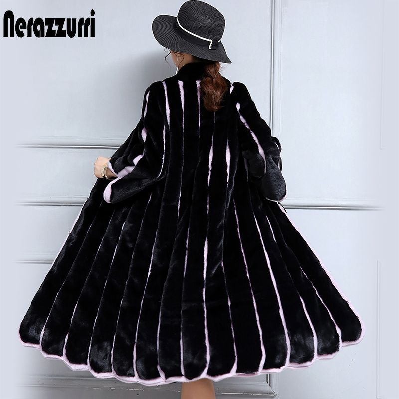 Nerazzurri 2019 New Women Faux Fur Coat Long Black and Purple Contrast Color Striped Patchwork Loose