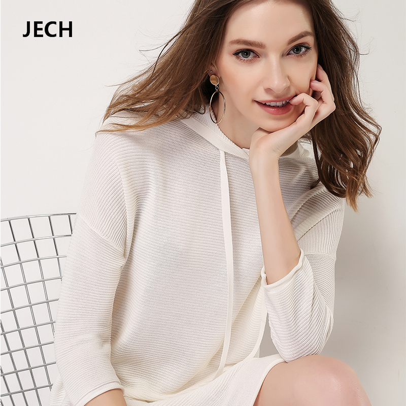 JECH 2018 Spring Summer Beach Women Dresses Plus Size High Quality Dress Elegant Fashion Female Casual Long Sweater Pullover