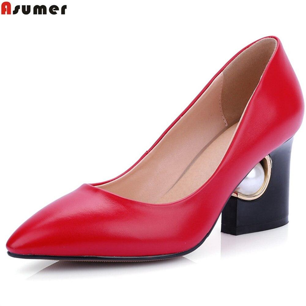 Élégant Hauts Noir Pompes Printemps rouge Talons Taille Mode Pointu À Rouge Habillées Chaussures Noir Automne Bout Dames Asumer 44 Femmes 48dZwqZ