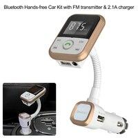 BT FM 송신기 핸즈프리 전화 자동차 키트 음악 플레이어 USB SD Aux-2.1A 충전기 IOS 모바일 GPS 네비게이