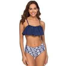 Купить с кэшбэком Ruffled High Waist Bikini Set Bandeau Swimsuit Female Push Up Tankini 2019 Mujer Swimwear Women Bathing Suit Plus Size XXL