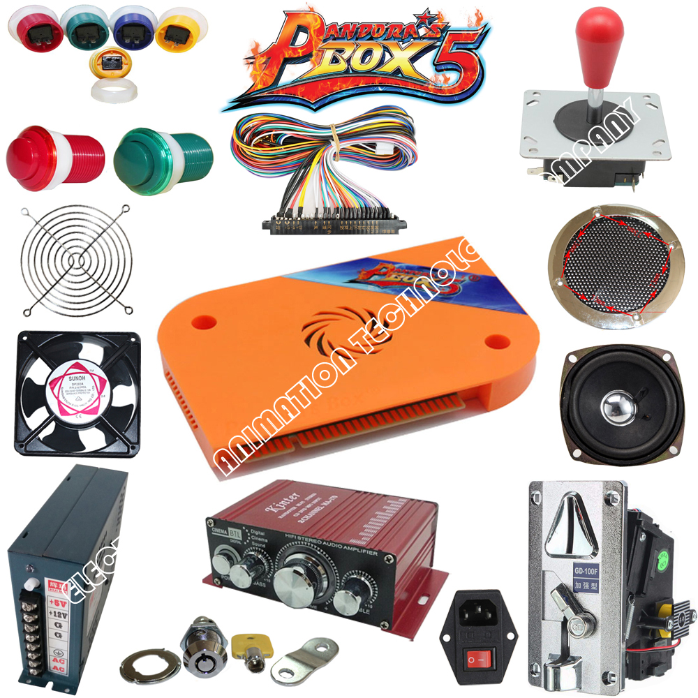 Arcade parts Bundles kit With Joystick Pushbutton Microswitch Player button Speaker 520 in 1 PCB to Build Up Arcade Machine