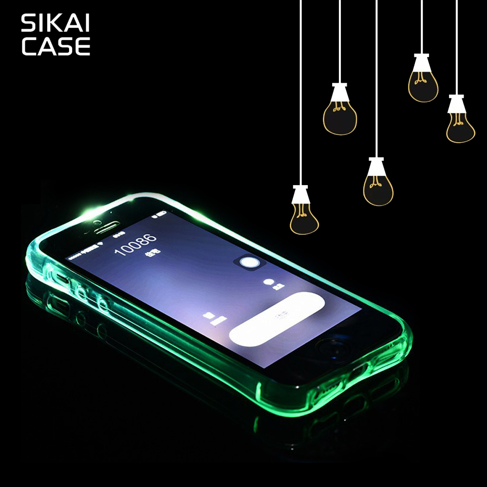 US $3 99 |SIKAI LED Flash Light Remind Incoming Call Coque For Samsung A3  A5 A7 2017 S6 Edge Plus Case Silicone Cover-in Fitted Cases from Cellphones