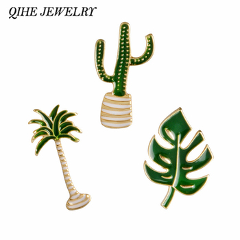 QIHE JEWELRY Cactus Palm Leaves Plant Tree Natural Lapel Pin Enamel Brooch Collar Pins