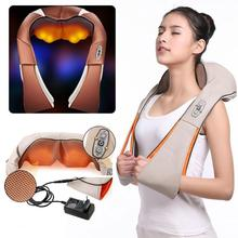 цена на Electrical Heating Shiatsu Back Neck Massager Shoulder Body Massager Infrared Heated Kneading Car/Home Massagem Relax