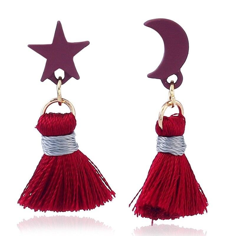 2017 Europe and the United States national wind retro stars moon tassel women earrings earrings the latest girls earrings