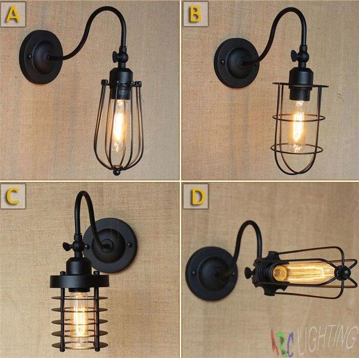 Loft Retro <font><b>Industrial</b></font> Metal Cage Corridor lamp Black Vintage Wall lamp Fixture edison <font><b>industrial</b></font> lighting <font><b>decorative</b></font> lights <font><b>home</b></font>